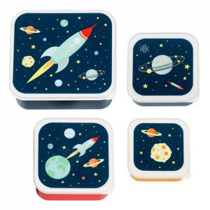 Set 4 cutii pentru pranz multicolore din polietilena Space A Little Lovely Company