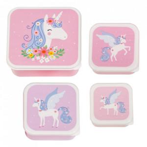Set 4 cutii pentru pranz multicolore din polietilena Unicorn A Little Lovely Company