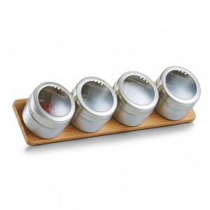 Set 4 recipiente argintii cu suport din inox si lemn 75 ml Camila Zeller