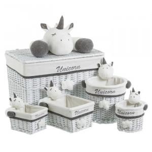 Set 5 cosuri gri/albe din rachita pentru rufe Unicorn Grey Unimasa