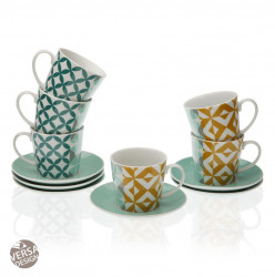 Set 6 cani cu farfurioare multicolore din portelan 9x14 cm Tea Cups Versa Home