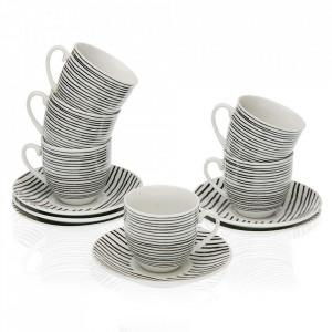 Set 6 cesti cu farfurioare albe/negre din portelan 5,5x5,7 cm Blackline Coffee Versa Home