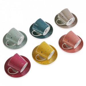 Set 6 cesti cu farfurioare multicolore din portelan 6x10,5 cm Skittles Tea Versa Home