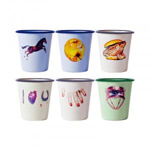 Set 6 pahare multicolore din email 8,8x9 cm Toiletpaper Seletti