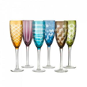 Set 6 pahare multicolore din sticla pentru sampanie Cuttings Pols Potten