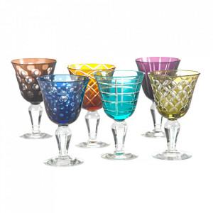 Set 6 pahare multicolore din sticla pentru vin Cuttings Pols Potten