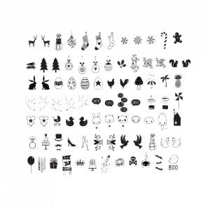 Set 85 de simboluri pentru caseta luminoasa negre Celebration A Little Lovely Company