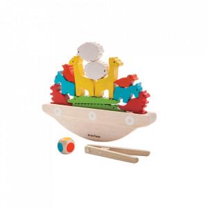 Set de joaca 9 piese multicolor din lemn Balancing Boat Plan Toys