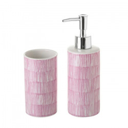 Set dispenser si suport din ceramica Drip Pink Unimasa