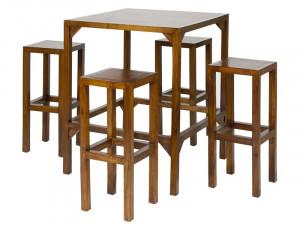 Set masa si 4 scaune bar din lemn mindi Tabler Santiago Pons
