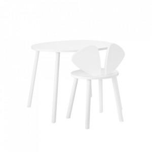 Set masa si scaun albe din lemn Mouse School Nofred