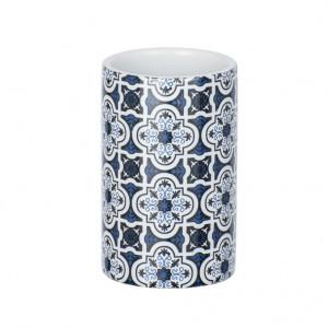 Suport alb/albastru din ceramica pentru periuta dinti 6,5x11 cm Murcia Wenko