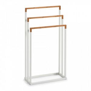 Suport alb/maro din metal si lemn pentru prosoape Towel Stand Bamboo Zeller