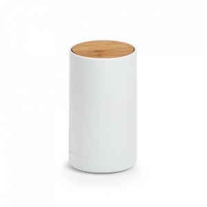Suport alb/maro din plastic si lemn pentru betisoare urechi 6,5x11,5 cm Teni Zeller