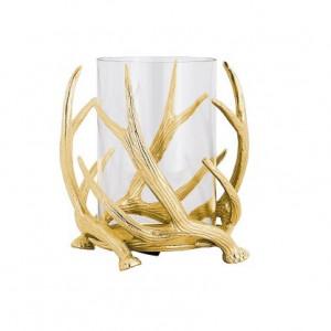 Suport auriu/transparent din aluminiu si sticla pentru lumanare 25 cm Holly Richmond Interiors