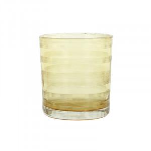 Suport lumanare galben din sticla 8 cm Moeshe Lifestyle Home Collection