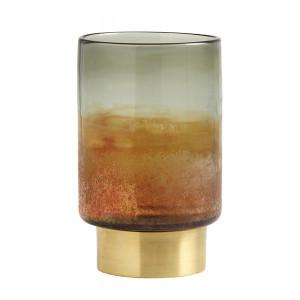 Suport lumanare multicolor din sticla si alama 20 cm Jim Nordal