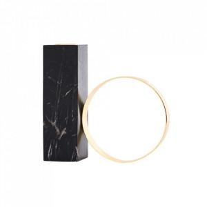 Suport lumanare negru/maro alama din marmura si metal 15 cm Tangent Oyoy