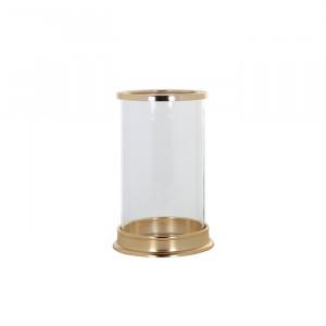 Suport lumanare transparent/auriu din sticla si aluminiu 19 cm Addison Richmond Interiors