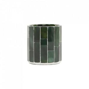 Suport lumanare verde din ciment si sticla 8 cm Amroha House Doctor