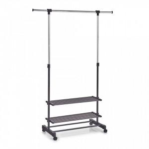 Suport negru/argintiu din metal si plastic 166 cm pentru umerase Roll Clothes Trays Zeller