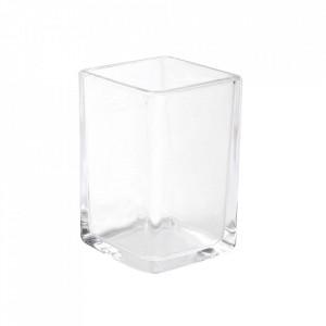 Suport pentru periuta de dinti transparent din sticla 6x10 cm Moz Versa Home