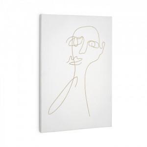 Tablou alb din lemn si hartie 40x60 Nisma Kave Home