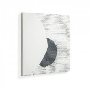 Tablou alb din lemn si hartie 50x50 Prisma La Forma