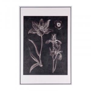 Tablou alb/negru din MDF si polistiren 40x60 cm Flowers Somcasa