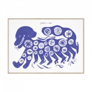 Tablou cu rama din lemn de stejar Chinese Dog Blue Paper Collective