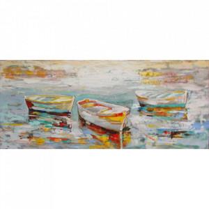 Tablou multicolor din canvas si lemn 60x150 cm Boats Ter Halle