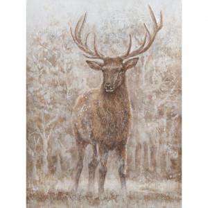 Tablou multicolor din canvas si lemn 90x120 cm Stag Ter Halle