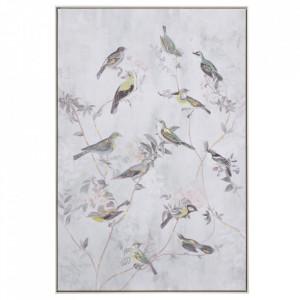 Tablou multicolor din canvas si lemn de pin 80x120 cm Birds Ixia