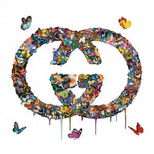 Tablou multicolor din sticla 100x100 cm Butterflies Ter Halle