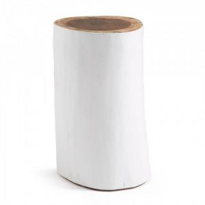 Taburet alb din lemn 47 cm Homey La Forma