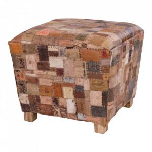 Taburet patrat maro din piele si lemn de mango 55x55 cm Timur House Nordic