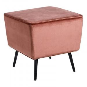 Taburet patrat roz din catifea si metal 41,5x41,5 cm Square Ixia