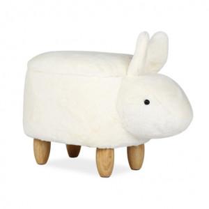 Taburet pentru copii alb din textil si lemn 33x59 cm Krys Signal Meble