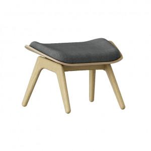 Taburet pentru picioare dreptunghiular gri/maro stejar din poliester si lemn 46x60 cm The Reader Umage