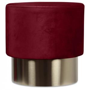 Taburet rosu din catifea cu baza aurie din metal 35x35 Serge Opjet Paris