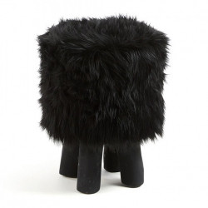 Taburet rotund negru din blana si lemn 38 cm Oda Kave Home