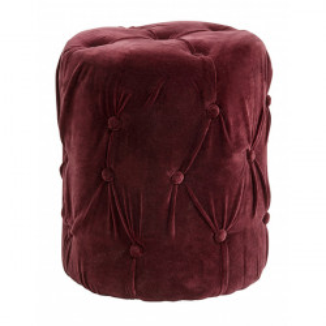 Taburet rotund rosu burgund din catifea si MDF 40 cm Ron Nordal