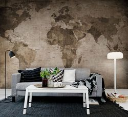 Tapet World Map brown Rebel Walls