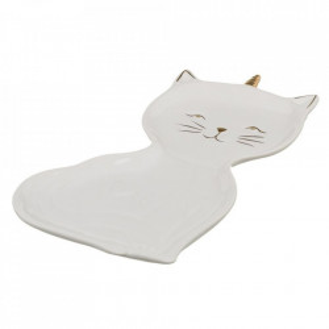 Tava alba din portelan 14x22 cm Kitty Unimasa