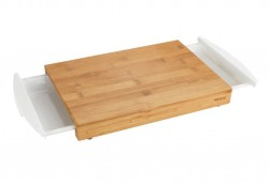 Tocator dreptunghiular maro/alb din lemn si polipropilena 25x40,5 cm Bina Tray Wenko