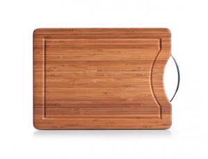 Tocator dreptunghiular maro/argintiu din lemn si metal 28x40 cm Metal Handle Board Zeller