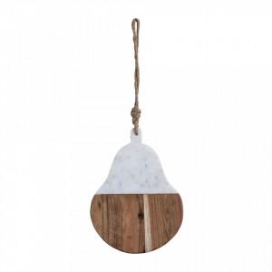 Tocator oval alb/maro din lemn de salcam si marmura 23x30 cm Yvonna Bloomingville