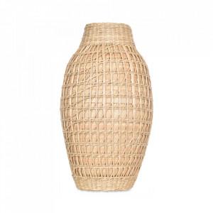 Vaza decorativa maro din bambus si paie 34 cm Hugo Opjet Paris