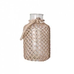 Vaza decorativa transparenta/maro din sticla si iuta 32 cm Bitt Vical Home