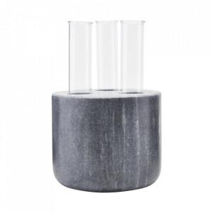 Vaza neagra/transparenta din sticla si marmura Tube House Doctor